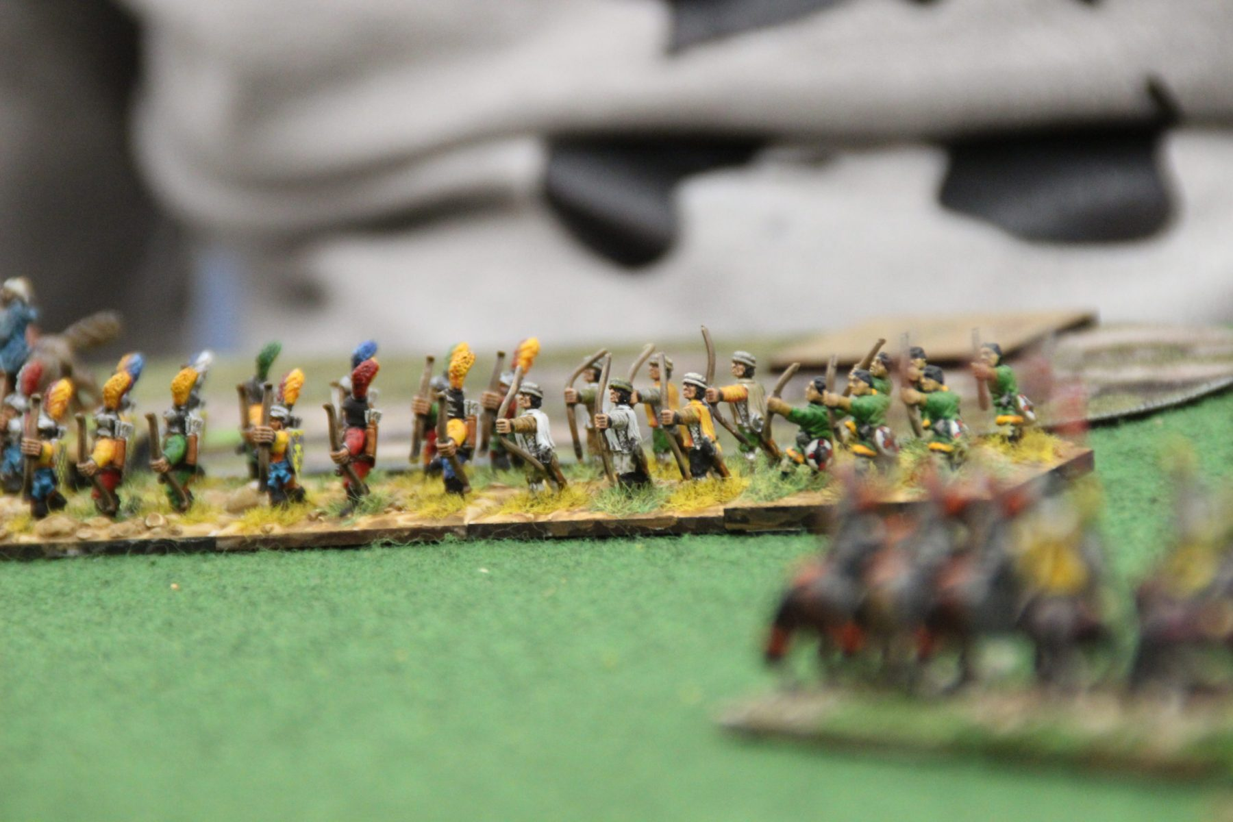 Archers longs anglo-irlandais en rangs compacts.