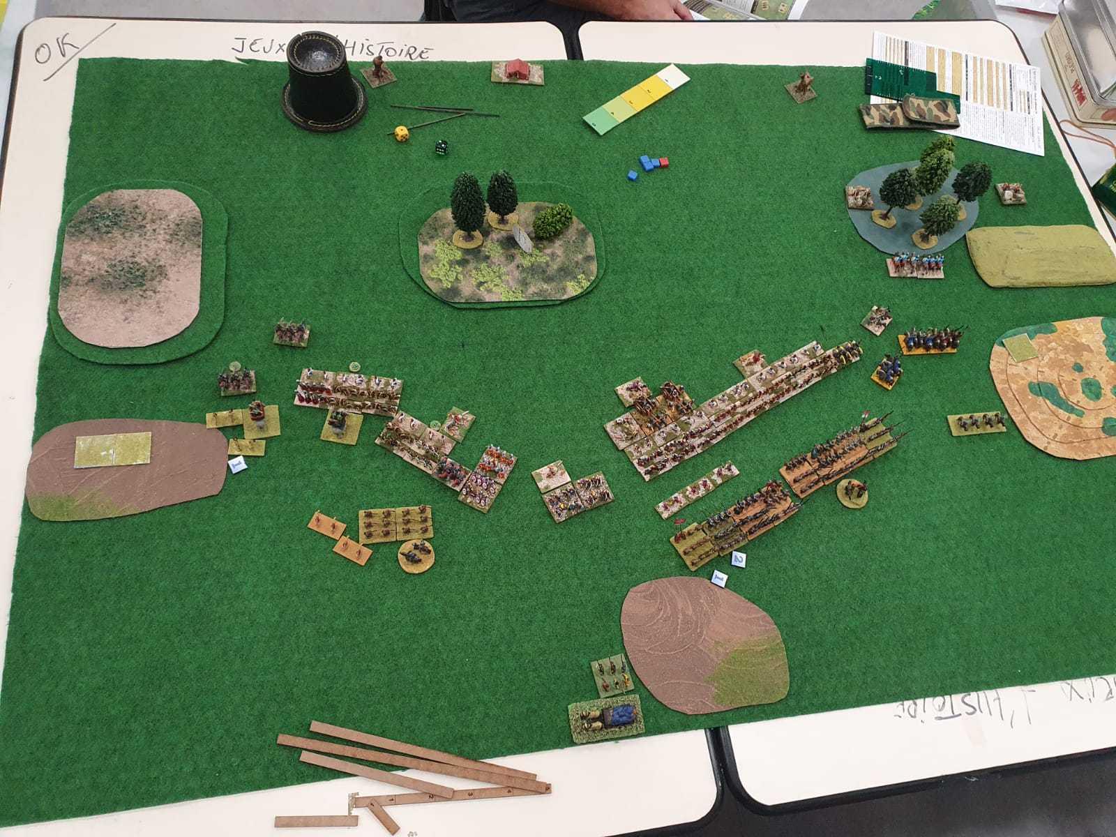 Vue aérienne du champ de bataille 300 points Romains Bas Empire vs Séleucides.