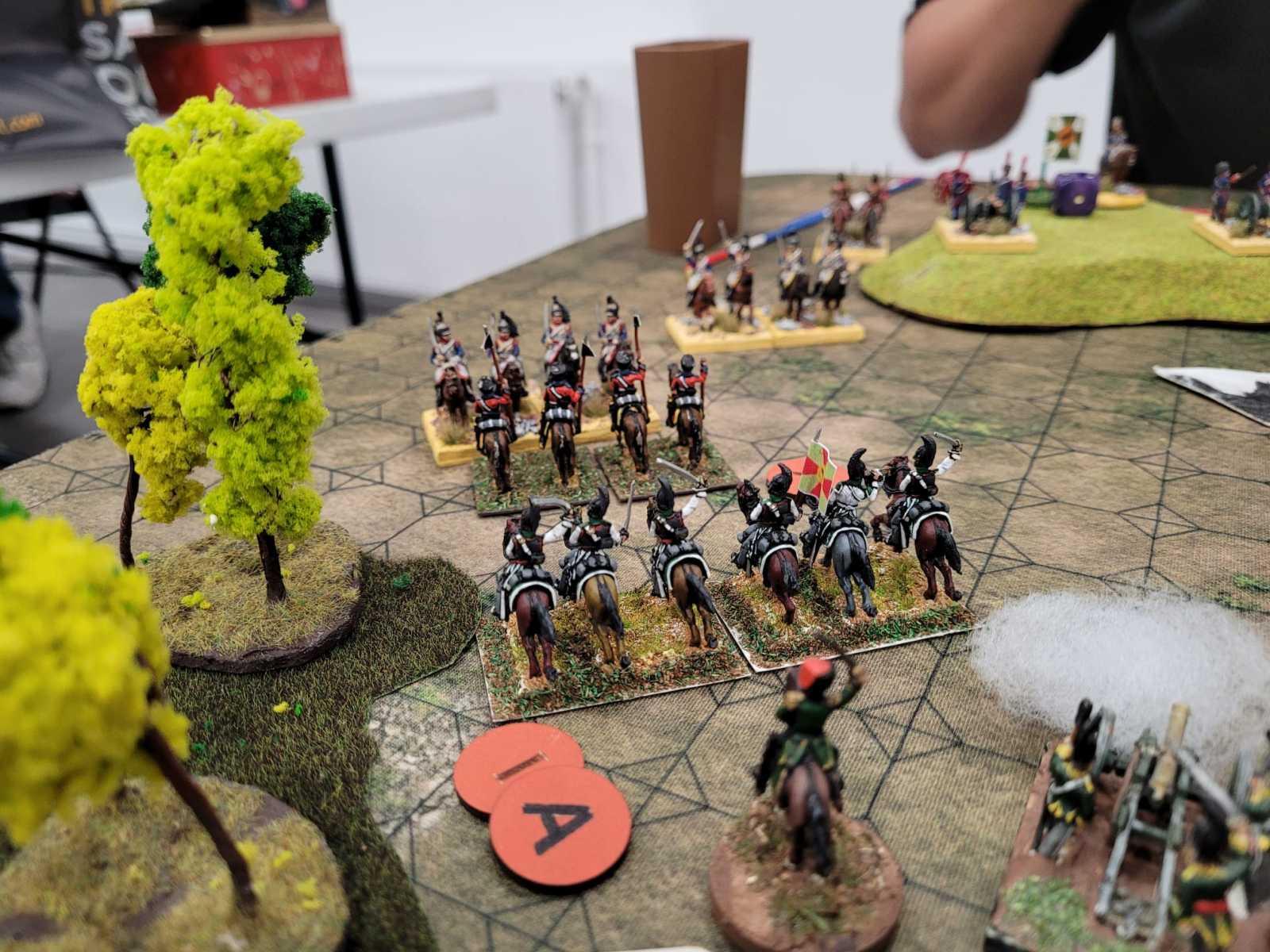Les Dragons Français engagent la cavalerie Russe.
