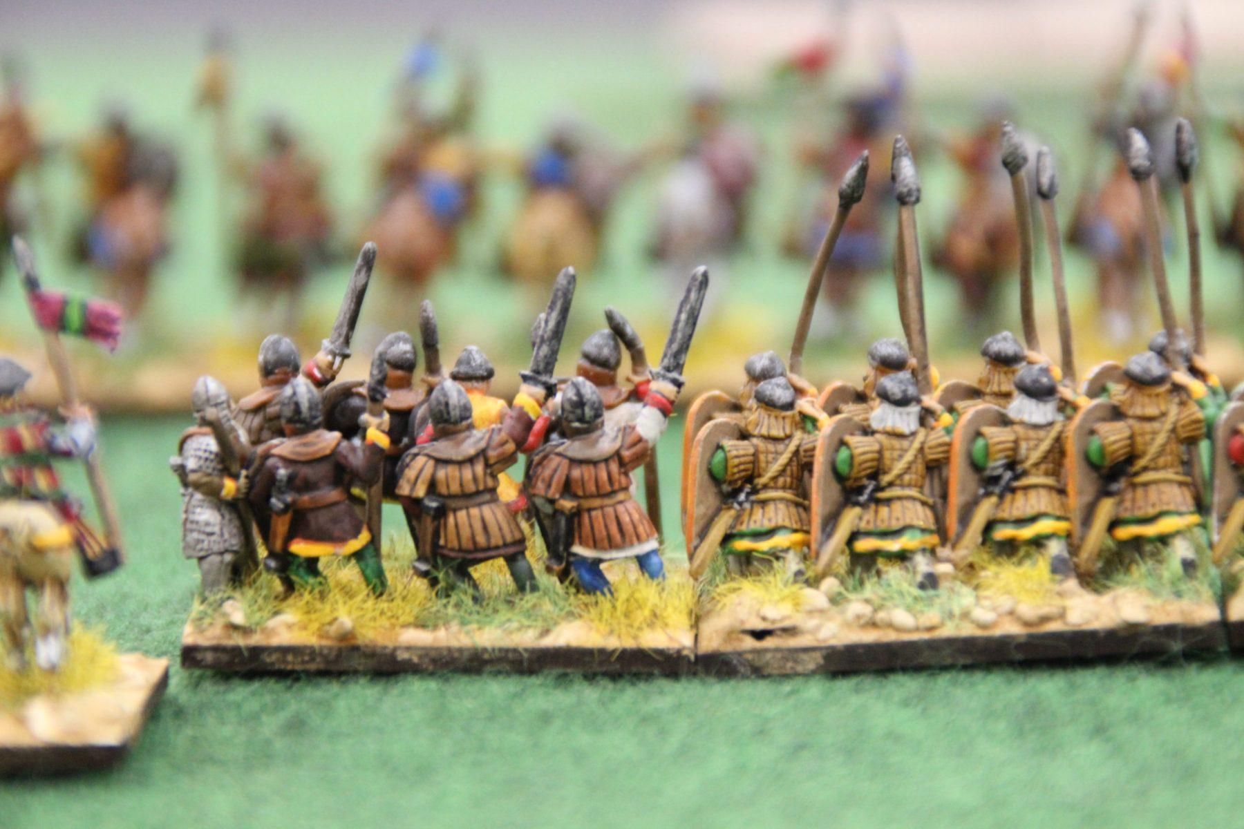 Les lanciers Byzantins s'apprêtent à encaisser la charge de la cavalerie des Francs !