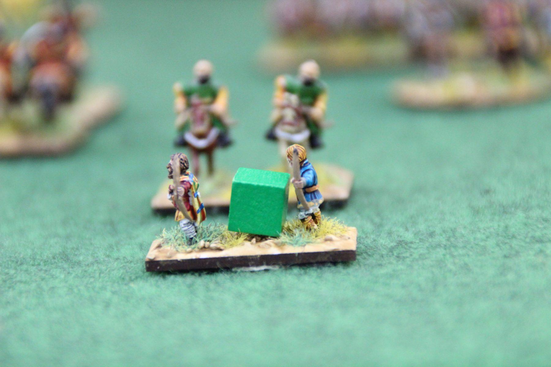Des Psilois Francs poursuivis par une cavalerie légère Byzantine.