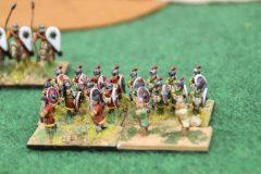 Les troupes d'élite Varègues protégées par 2 unités Psiloi.